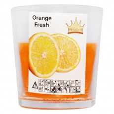 Свеча в стакане (о65-79х83 мм, 30 час) АРОМА апельсиновый фреш / 6