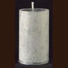 Candel Rustic Cylinder 10 cm silver