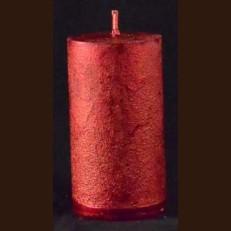 Candel Rustic Cylinder 10 cm red metalik