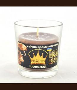 Свеча в стакане (о65-79х83 мм, 30 час) АРОМА шоколад / 6