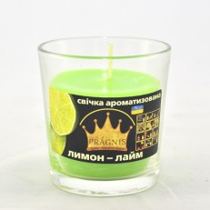 Свеча в стакане (о65-79х83 мм, 30 час) АРОМА лимон лайм / 6