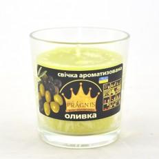 Свічка в стакані (о65-79х83 мм, 30 год) АРОМА оливка / 6