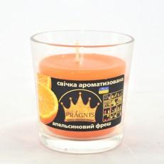 Свічка в стакані (о65-79х83 мм, 30 год) АРОМА апельсиновий фреш / 6