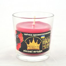 Свеча в стакане (о65-79х83 мм, 30 час) АРОМА красные ягоды / 6