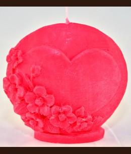 Свічка Серце плоске коло (10Х4Х10 см)