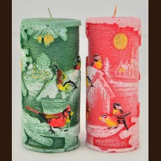 Cylinder Candle Christmas Bird (7 x 15.5 cm)