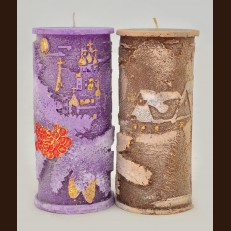 Свічка Циліндр Новорічна Калина (7 х 15,5 см)