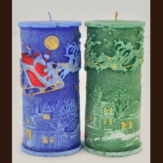 Cylinder Candle Santa Claus in Sleigh (7 x 15.5 cm)