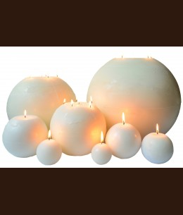 Свеча Рустик Шар белый ( D-15 х 15 )
