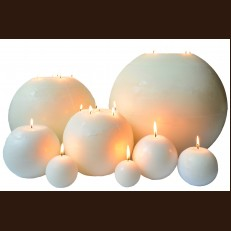 Candel Rustic Ball white ( D-20 x 20 )
