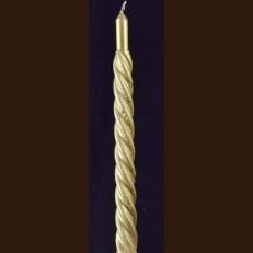 Свеча спиральна 24 см золотая металик / 90
