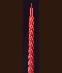 Свічка Спіральна 24 см червоний металік / 90