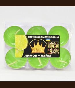 Свеча чайная АРОМА ( 8 х 12 ) \ 6 лимон лайм
